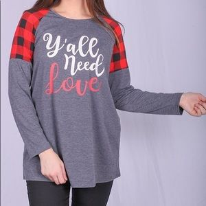 """Tops - """"Y'all need Love"""" top"""